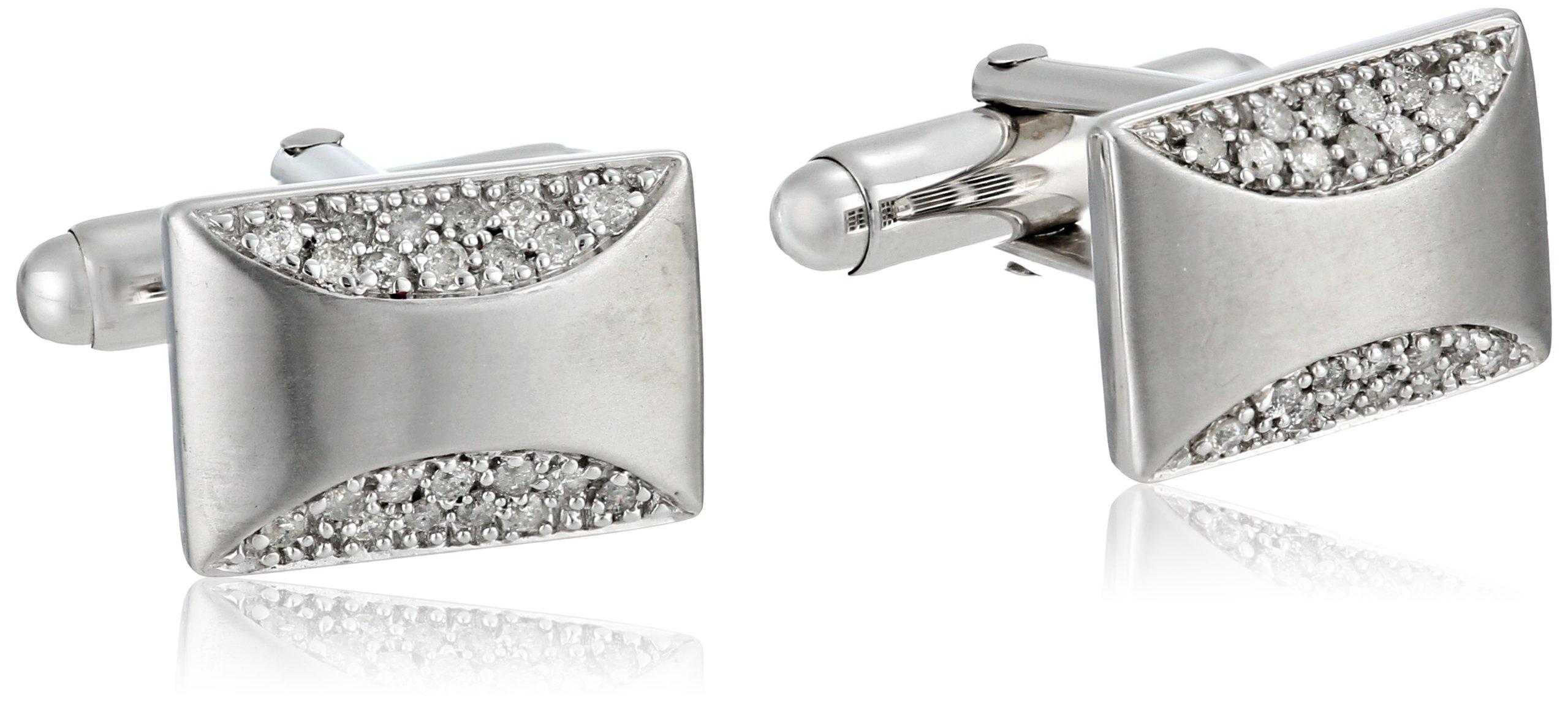 Sterling Silver Diamond Men's Cuff Links (1/2 cttw)