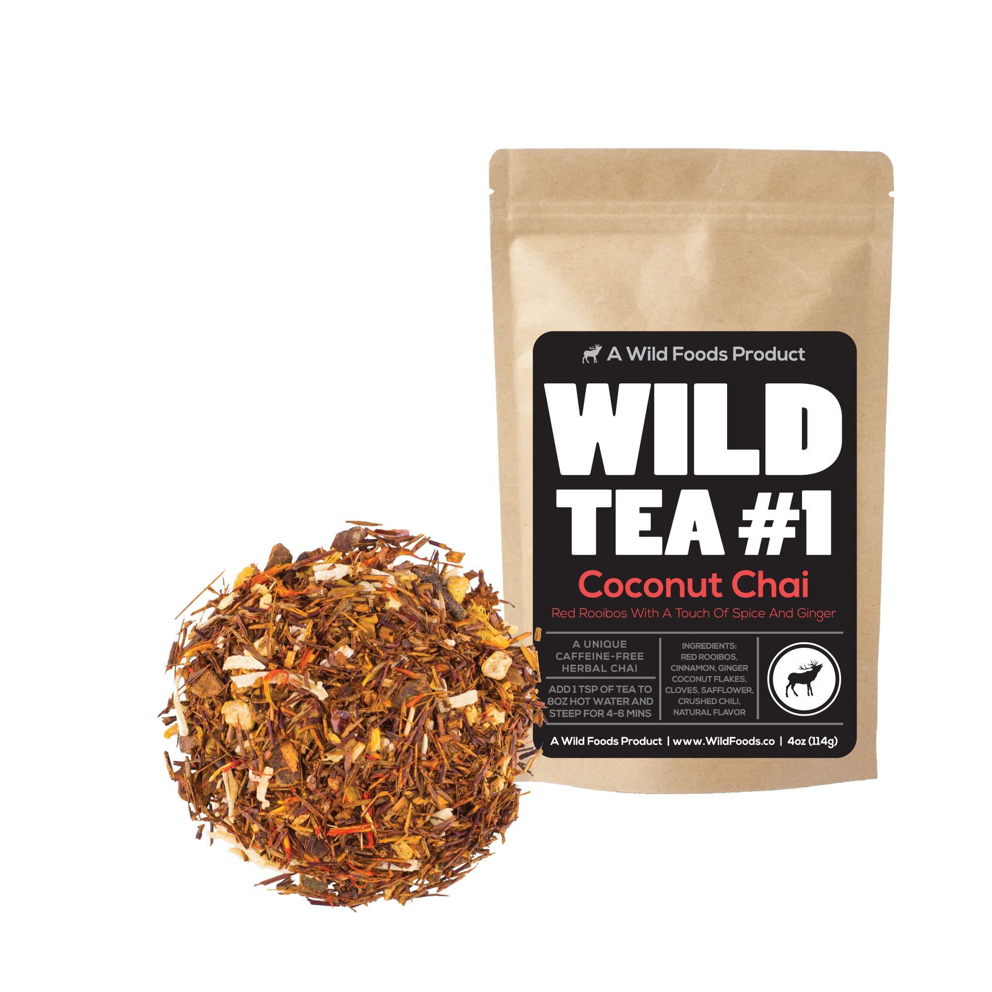 Coconut Chai, Rooibos Loose Leaf Tea Blend, 100% Naturally Grown Ingredients - Wild Tea #1 Herbal Chai Tea (8 ounce)