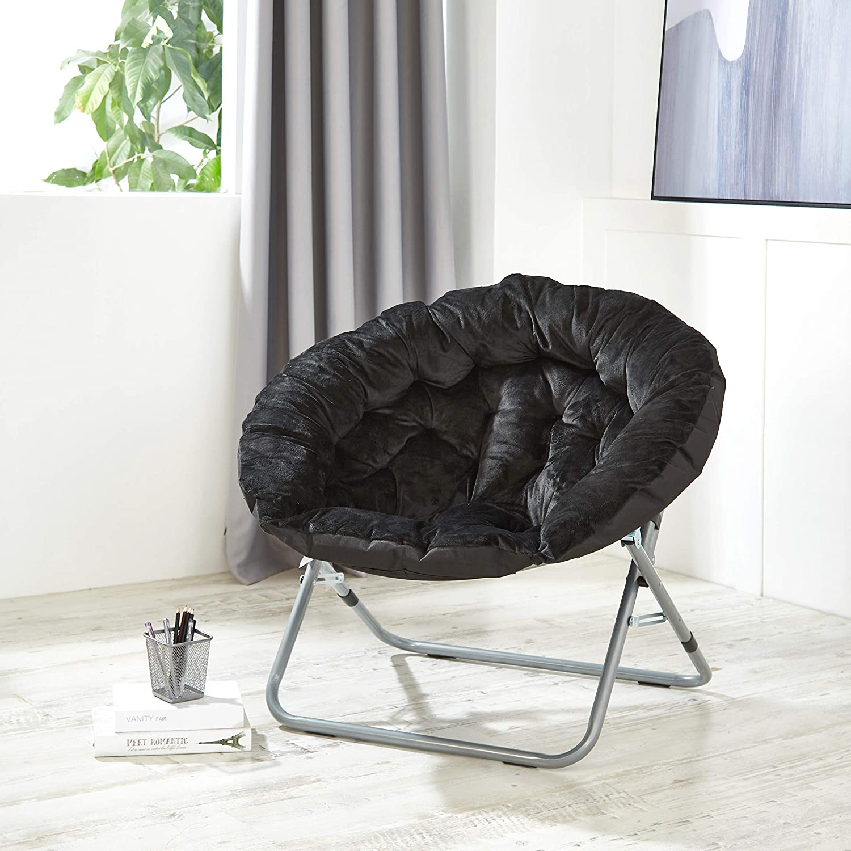 Black Urban Shop Oversized Micromink Moon Saucer Chair 37 L x 30 W X 30 D