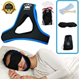 Stop Snoring Chin Strap (SPECIAL RELIEF BUNDLE) Includes: Anti Bacterial Snoring Solution Chin Strap+ 20 Nasal Strips+ Silk Sleep Mask+ Travel Bag. SAY GOODBYE TO SNORING w/ proven Anti Snore device