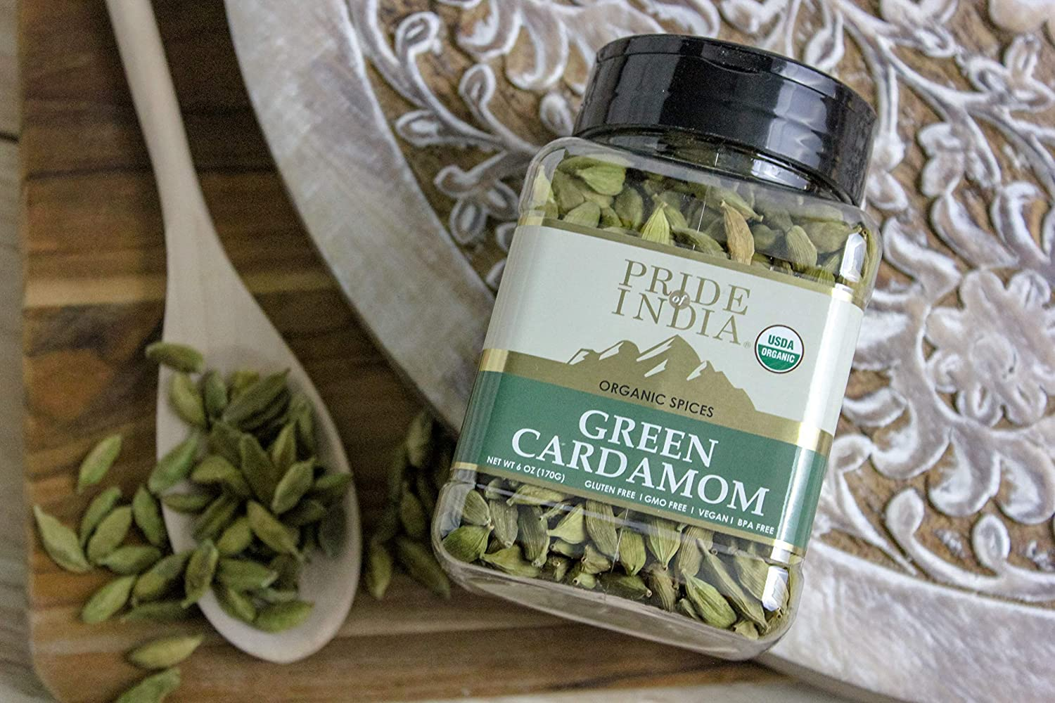 Pride Of India- Organic Green Cardamom Whole- 6 oz (170 gm) - Authentic Indian Green Pods - Best added to Rice, Tea , Coffee & Sweet Dishes