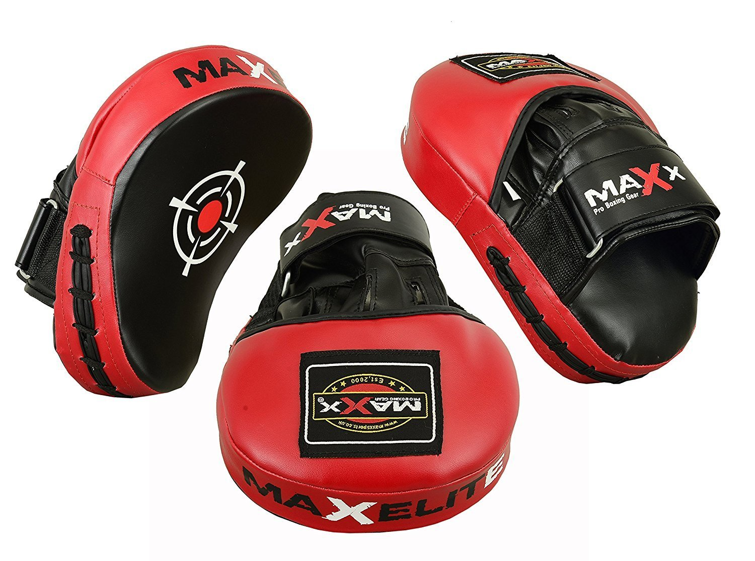 Maxx Rex Leather Curved Focus Pads MMA Boxing PINK , Black White . Red . Blue Martial ART Kick Boxing One Size) SPORTSMAXX LTD