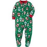 Carter's Baby Boys' Santa Print Fleece Zip up Sleep and Play Newborn