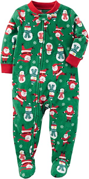 654a1b83a Amazon.com  Carter s Baby Boys  Santa Print Fleece Zip up Sleep and ...