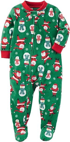 e676c607d8 Carter s Baby Boys  Santa Print Fleece Zip Up Sleep and Play Newborn Green