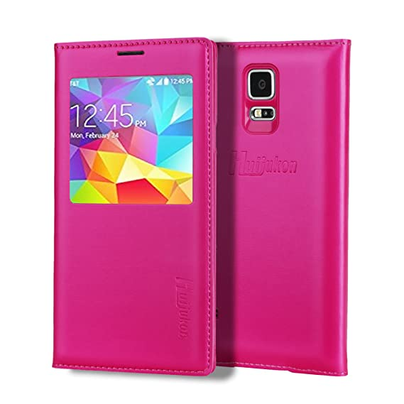 new product 1b482 4b46b S5 Case, Galaxy S5 Case, Huijukon Luxury S-VIEW Window Flip Leather Case  Cover with Smart Sleep/Wake Up Function for Samsung Galaxy S5 i9600 G900 ...