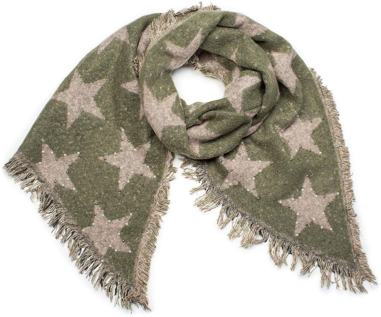 bfe01c955 styleBREAKER Châle XXL tissé douillet pour femme avec des étoiles, des  perles et des franges, écharpe d'hiver, étole, foulard 01017100