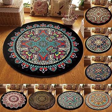 erholi Non-Slip Machine Washable Round Rug Living Room Bedroom Soft Carpet Floor Mat Doormats