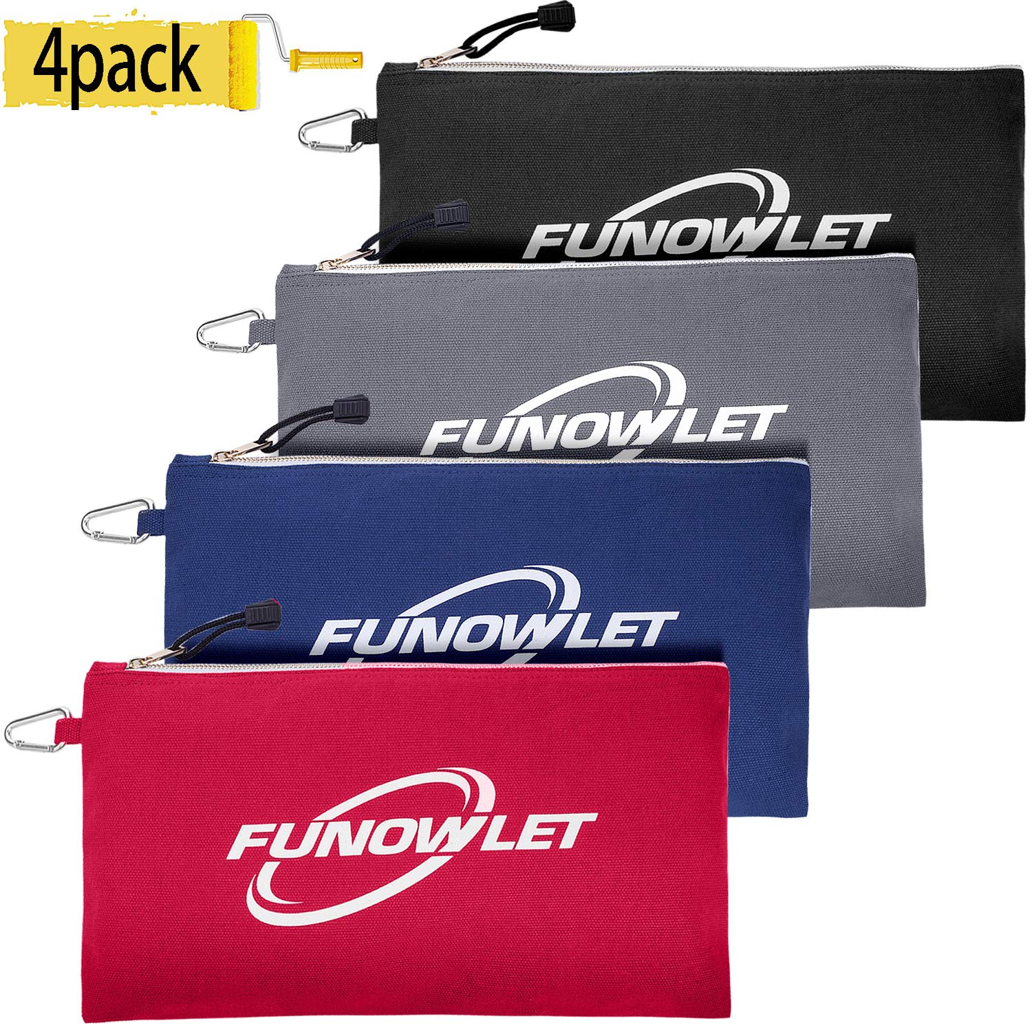 Canvas Zipper Utility Tool Bag - 4 Pack Great Quality Heavy Duty Metal Zippers Tool Pouch with Carabiner, Well Made Organizer Clip on Tote Bags in Blue, Black, Gray, Red by FunOwlet