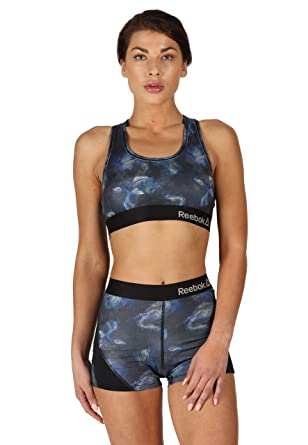 d57944a6246a7 Reebok Women s Underwear Performance Sports Crop Top Bra Oil Slick Print  Lainey  Amazon.co.uk  Clothing