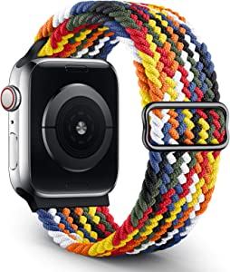 OYODSS Braided Solo Loop Sport Band Compatible with Apple Watch Bands 38mm 40mm 42mm 44mm, Adjustable Soft Stretchy Elastic Wristband Compatible with iWatch Series 6/5/4/3/2/1/SE Women Men 42mm/44mm