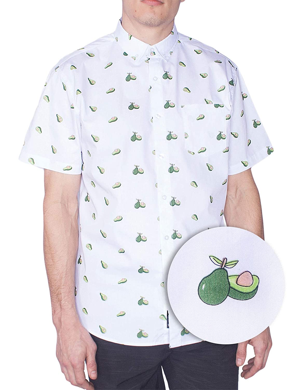 852463fe Men Button Down Shirt - Visive Adults Casual Short Sleeve Food print Button  Down Shirt with 1 Chested Pockets - Choose one that fits you from Small to  ...