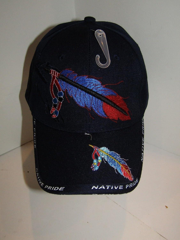 ネイティブアメリカンフェザーとビーズネイティブPride Indian Shadowブルーボールキャップ帽子   B01LWS6UWU