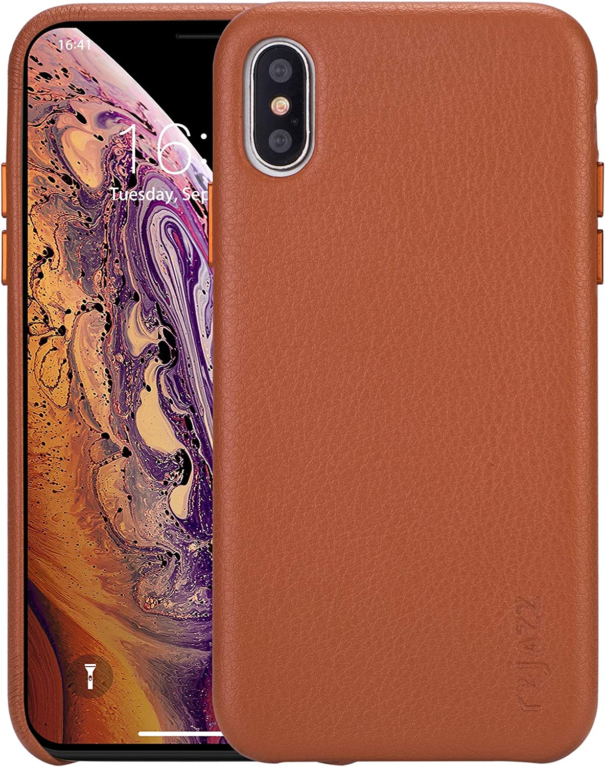 iPhone Xs max Case Rejazz Anti-Scratch iPhone Xs max Cover Genuine Leather Apple iPhone Cases for iPhone Xs max (6.5 Inch)(Brown)