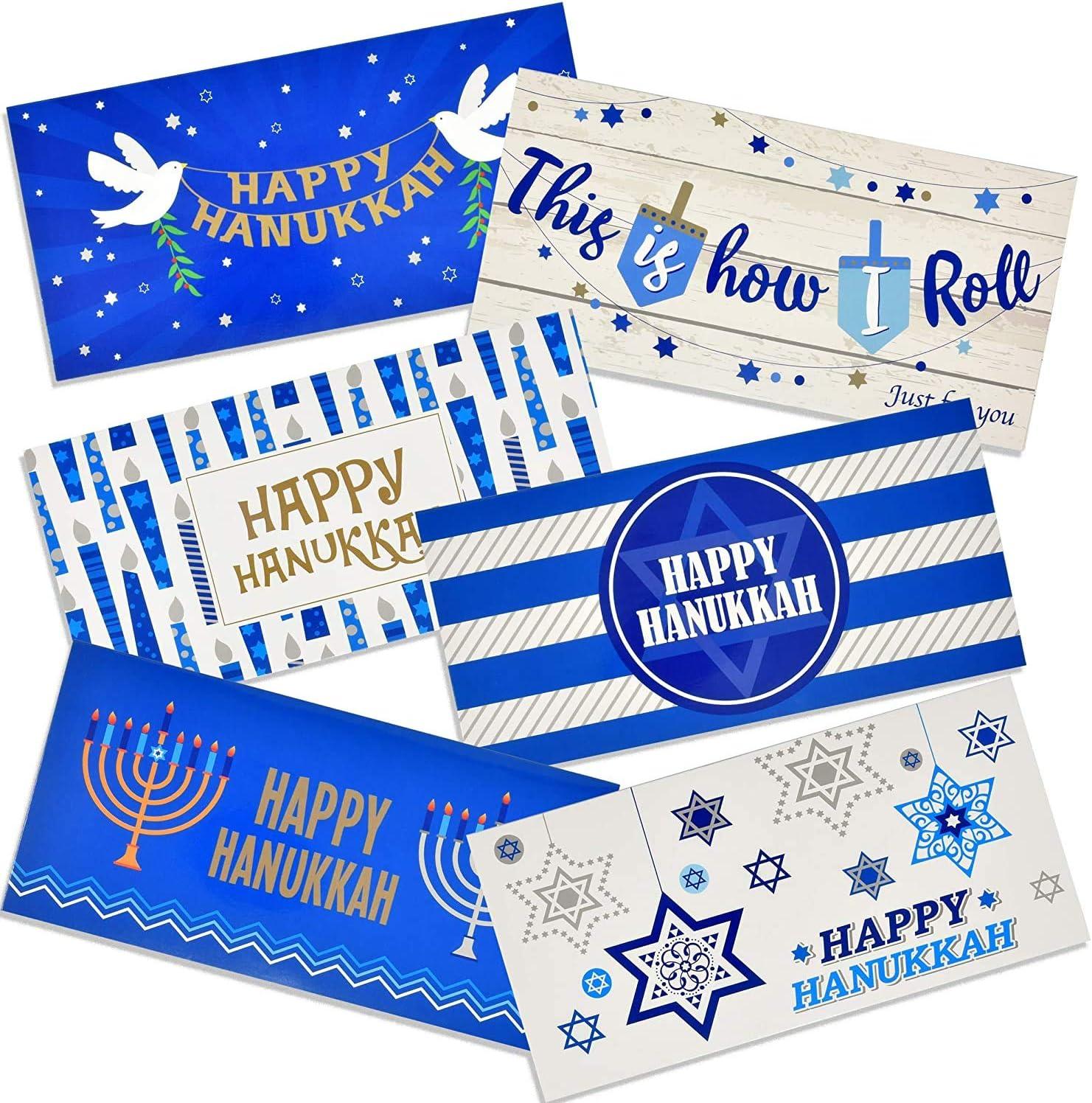 6 Pack Happy Hanukkah Chanukah Card Money /& GiftCard Holders w// Envelopes