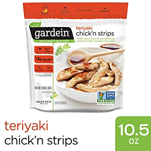 Gardein Teriyaki Chick'n Strips, Meatless Protein Packed Strips, Ready in 5 Minutes, Contains Sauce Packet, 10.5 Ounces (Frozen)