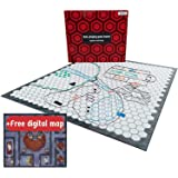 Hexers Role-Playing Game Board, Vinyl Mat Alternative, Dungeons and Dragons D&D DND Pathfinder RPG Compatible, 27 on 23 inches, 1 inch Squares on one Side, Hexes on Other Side, Foldable & Dry Erase
