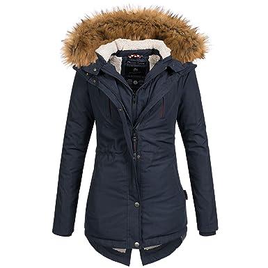 be42e36ff603b9 Marikoo Akira Damen Mantel Jacke Parka Winterjacke warm gefüttert  Doublezipper XS-XXL 5Farben, Farbe