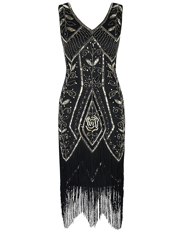 MAYEVER Women Flapper Dress 1920s Gatsby Art Deco Fringed Sequin Cocktail Dress