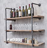 BIXIRAO 4-Tier Wall Mounted Iron Floating Pipe Shelves/Racks/Storage/Bookcases/Brackets, DIY Open Bookshelves/Shelving…
