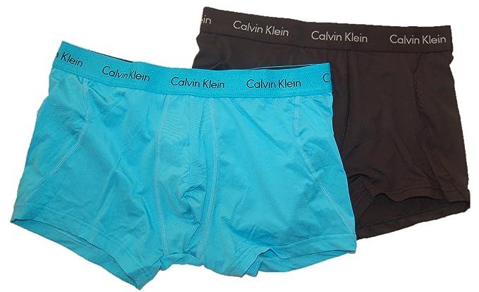ff2244cbf7f4 Calvin Klein Men's 2-Pack Microfiber Stretch Trunk, Black/Blue Atoll, Medium