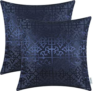 CaliTime Pack of 2 Throw Pillow Covers Cases for Couch Sofa Home Decor Vintage Shining & Dull Contrast Cross Flowers Trellis Geometric Figure 18 X 18 Inches Navy Blue