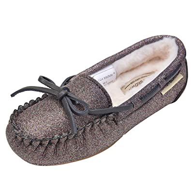 MACCA BROWN Moccasins for Girls,Glitter Slippers, Big Kids House Shoes,Faux Fur