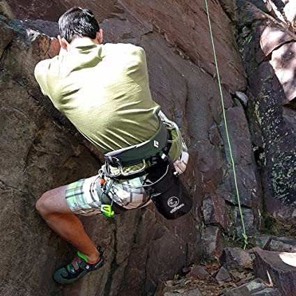 Bolsa de tiza para escalada con bola de tiza, cinturón, clip de mosquetón y bolsillos con cremallera para escalada, roca, gimnasia, crossfit y ...