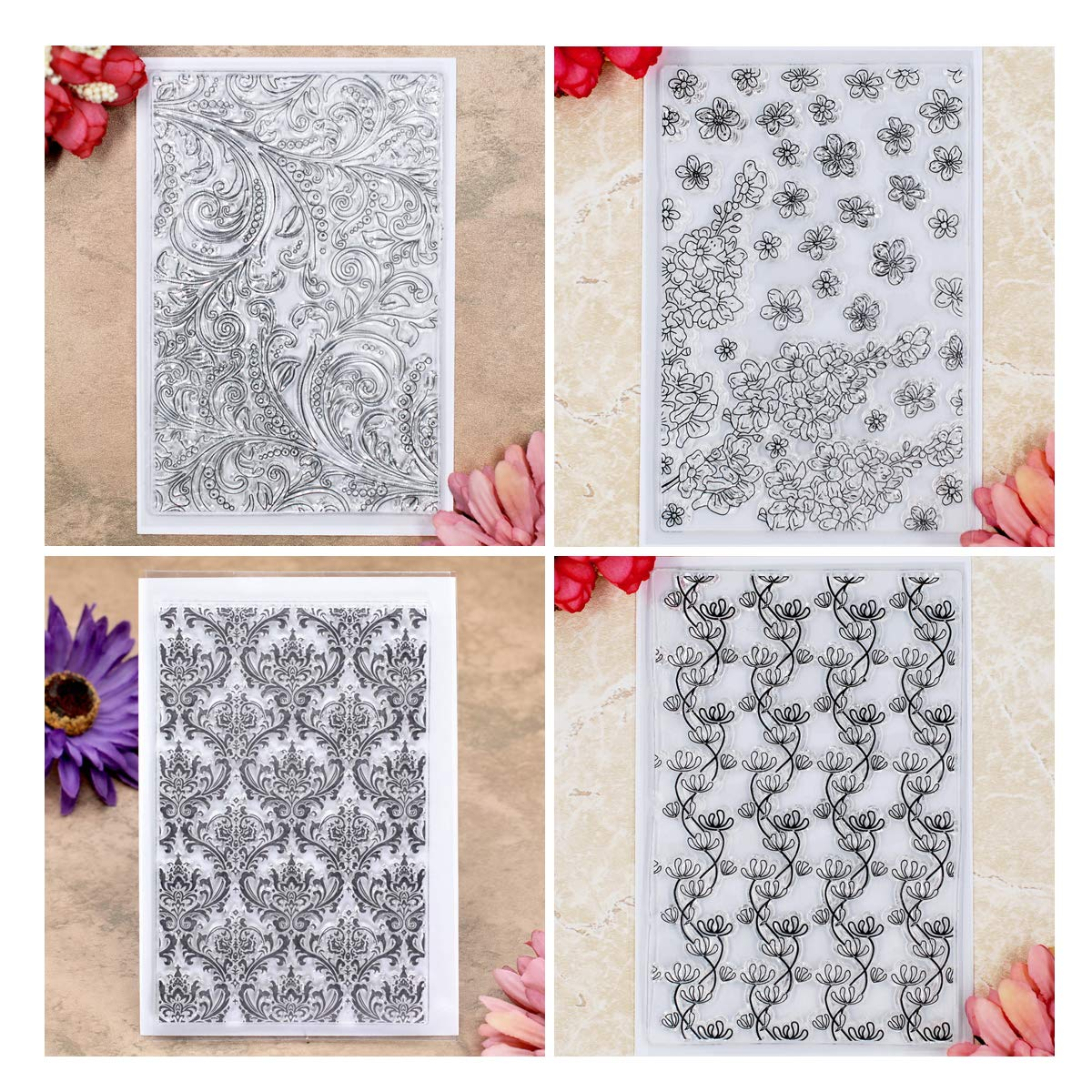 Kwan Crafts 4 Sheets Different Style Flowers Leaves Background Clear Stamps for Card Making Decoration and DIY Scrapbooking