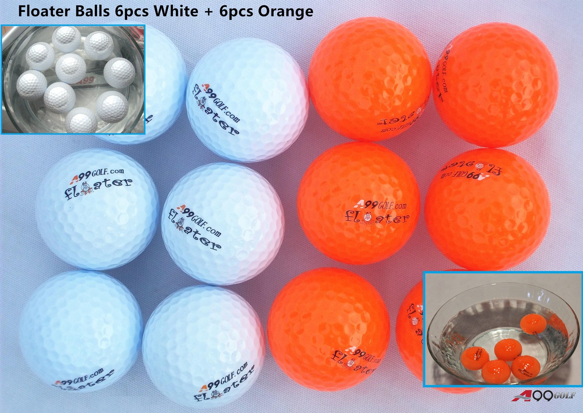 A99 Golf 6pcs Floater Balls White + 6pcs Orange Floater Balls by A99 Golf