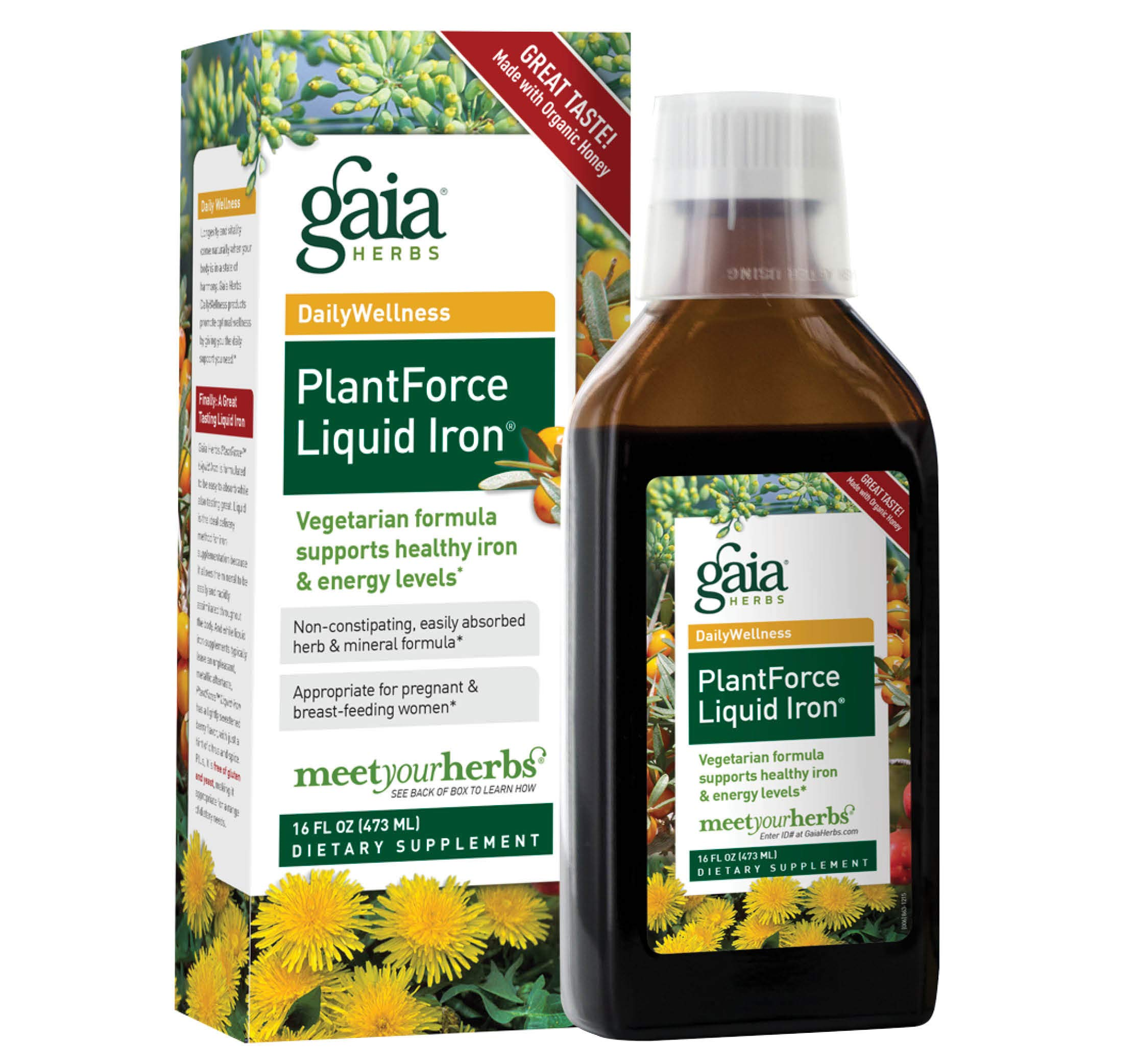 Gaia Herbs PlantForce Liquid Iron Supplement, 16 Ounce - Supports Healthy Iron and Energy Levels, Great-Tasting Vegetarian Herbal Formula