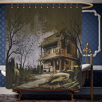 Wanranhome Custom Made Shower Curtain Rustic Decor Old Haunted Abandoned Wood House At Dark Night