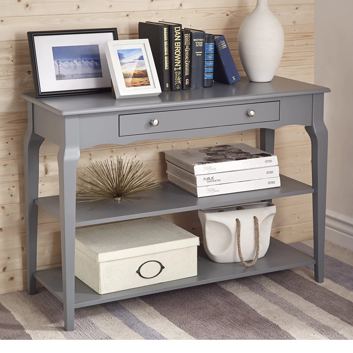 Amazon.com: ModHaus Living Modern Wood TV Stand Accent Console Sofa Table  With 1 Drawer And 2 Open Shelves   Includes Pen (Gray): Kitchen U0026 Dining