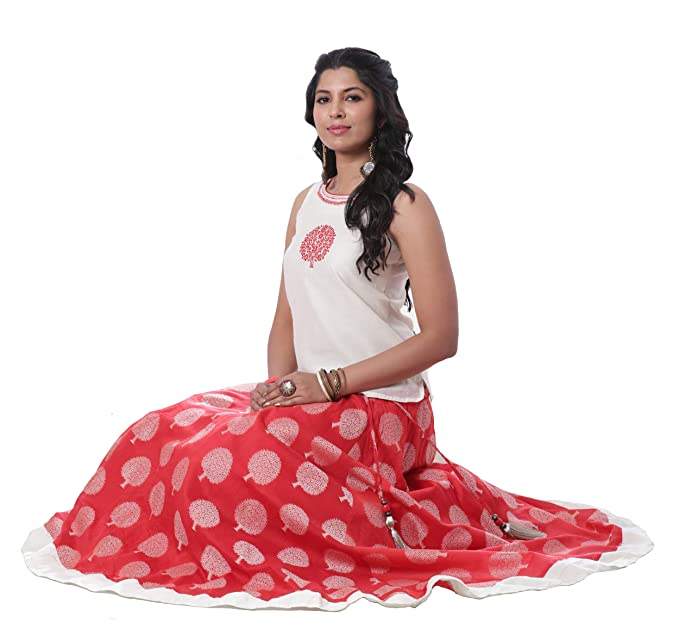 6e22403a4 Maybell Rust & Off-White Embroidered Chanderi Skirt Set: Amazon.in:  Clothing & Accessories