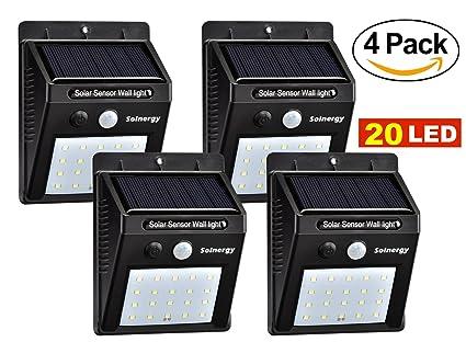 [Solnergy] 20 LED Luz de sensor solar brillante, Iluminación de movimiento exterior,