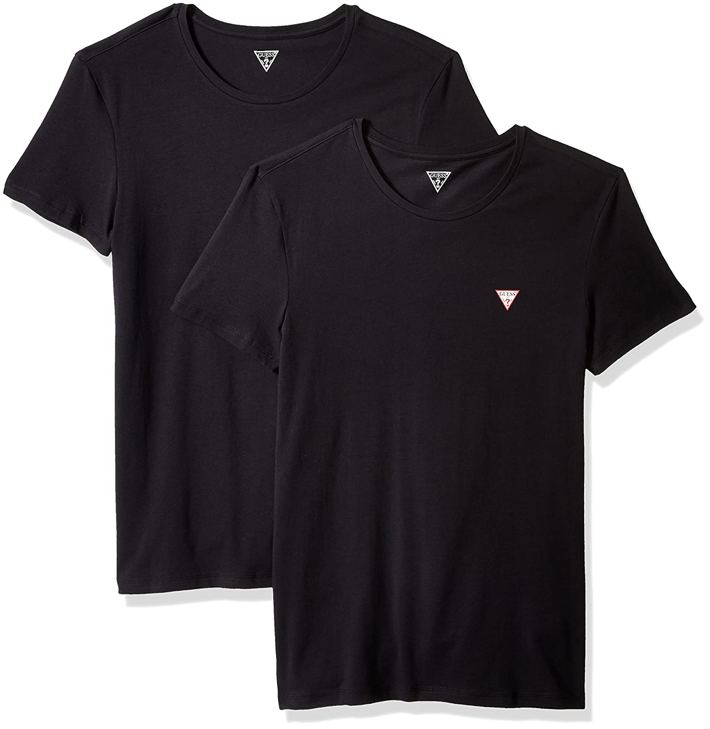 21fcd754b56b GUESS Men's Triangle Logo Crew Neck 2 Pack T-Shirt at Amazon Men's Clothing  store: