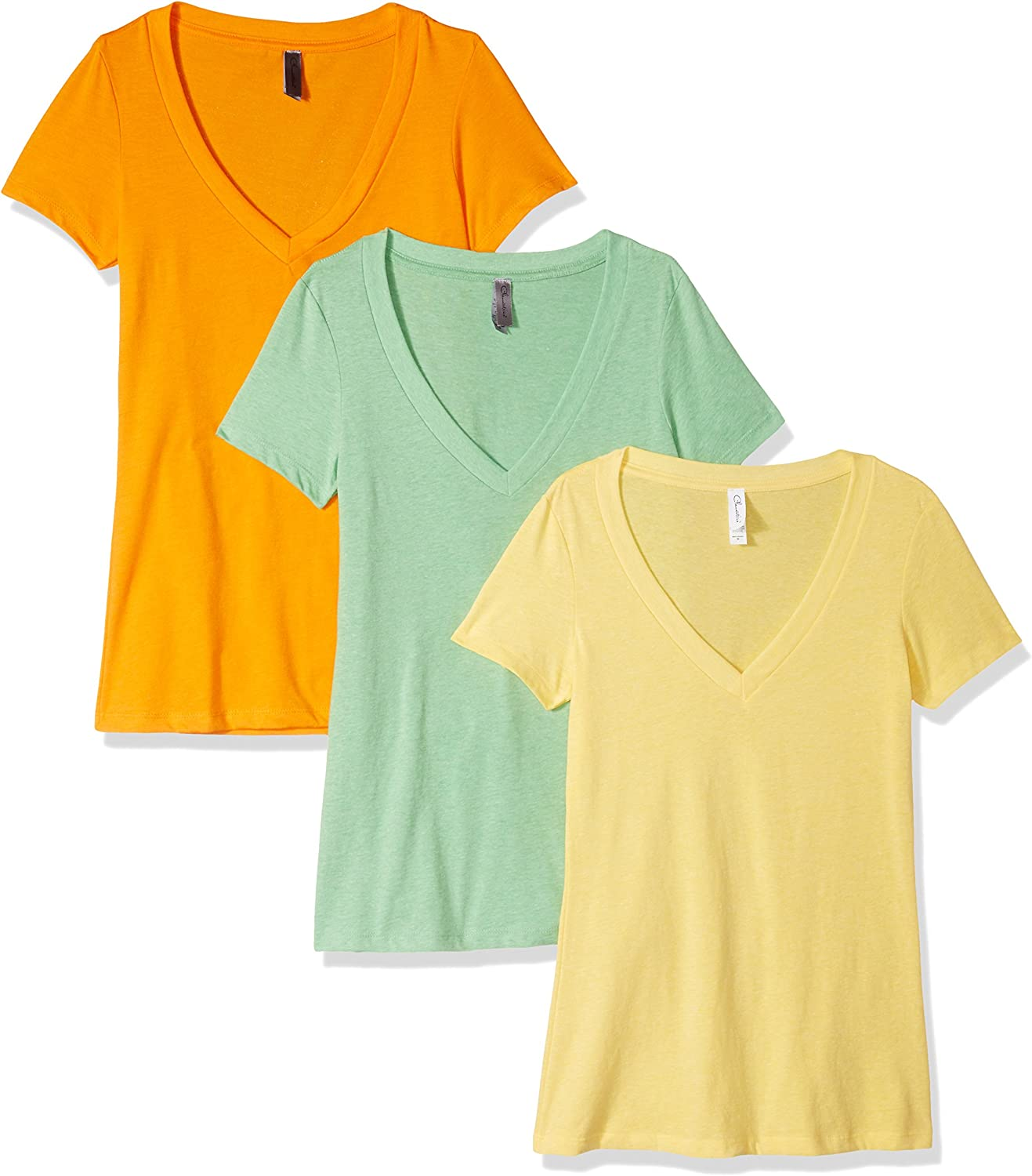 Clementine Apparel Women's Petite Plus Deep V Neck Tee (Pack of 3)