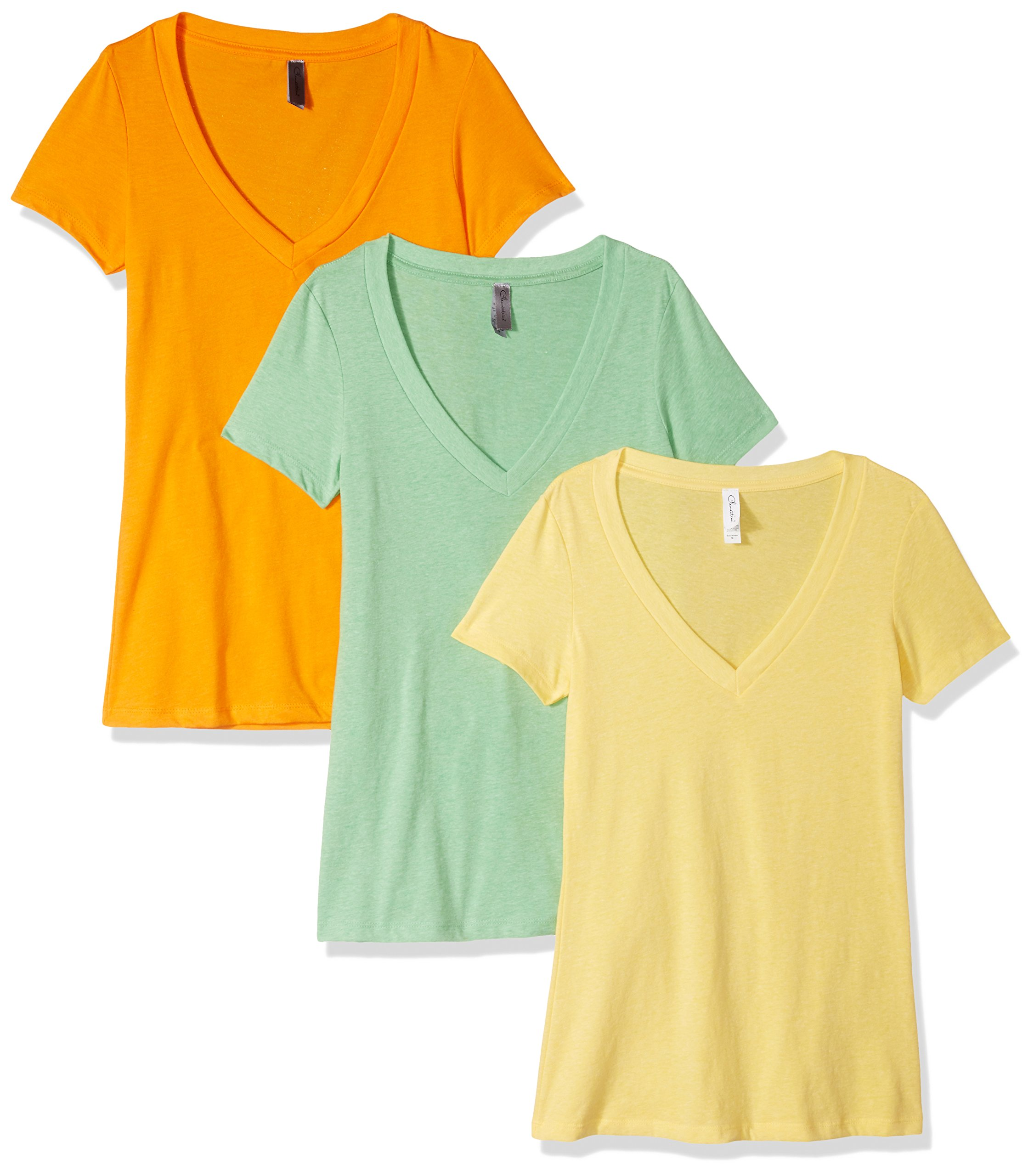 Clementine Apparel Women's Petite Plus Deep V Neck Tee (Pack of 3), Banana Yellow/Apple Green/Orange, L by Clementine Apparel (Image #1)