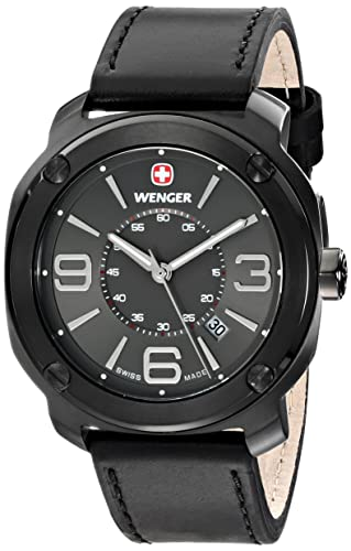 Wenger Men s 01.1051.108 Escort Stainless Steel Watch with Black Leather Band