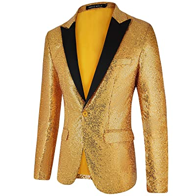 MAGE MALE Men's Shiny Sequins Suit Jacket Blazer One Button Tuxedo for Party, Wedding, Banquet, Prom at Amazon Men's Clothing store