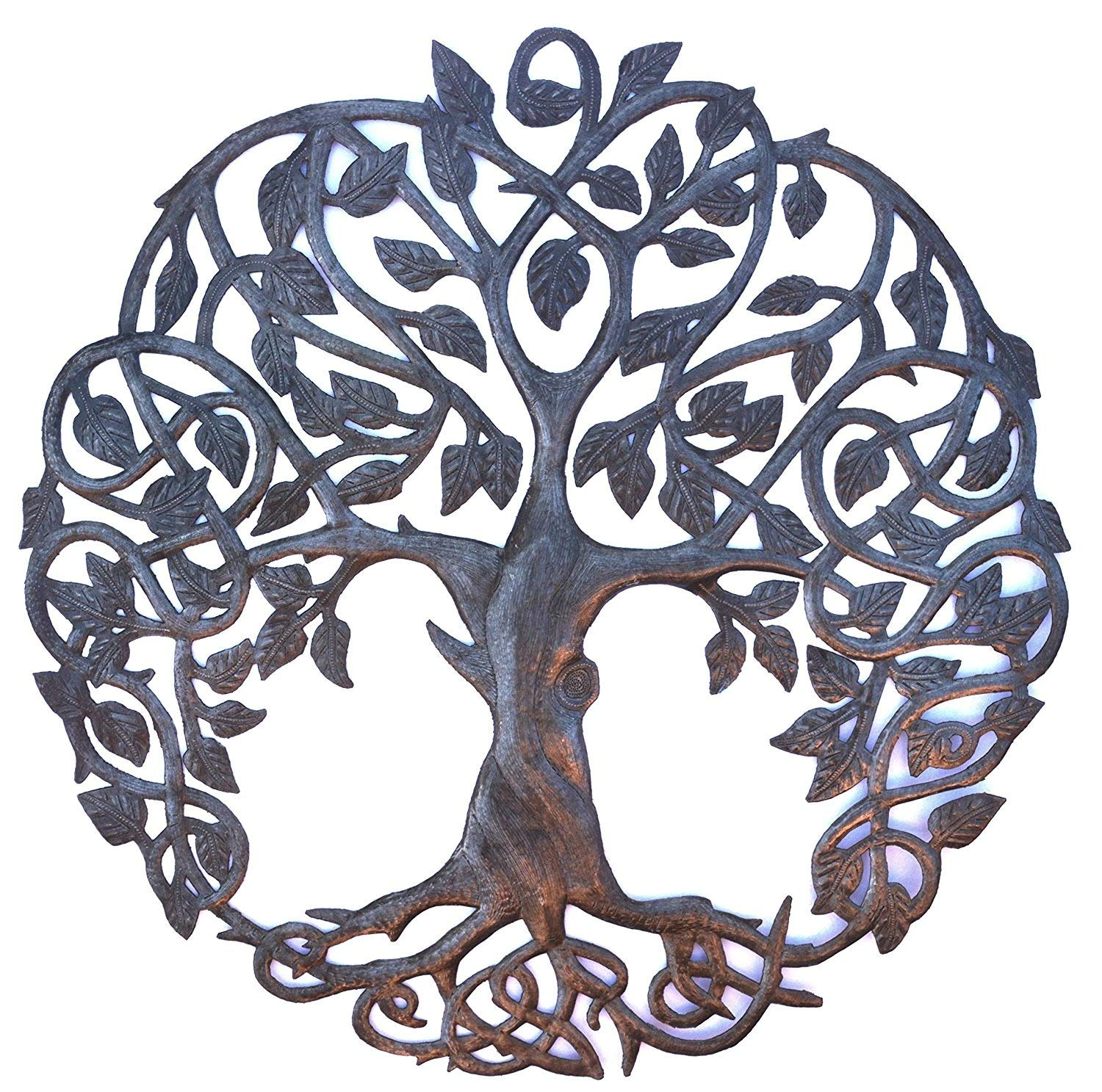 Tree of Life Metal Wall Art, Contemporary Iron Artwork Decor, Celtic Family Trees, 23 in. x 23 in. Round Modern Plaque, Handmade in Haiti,Fair Trade Certified, Signed by Wilson Etienne