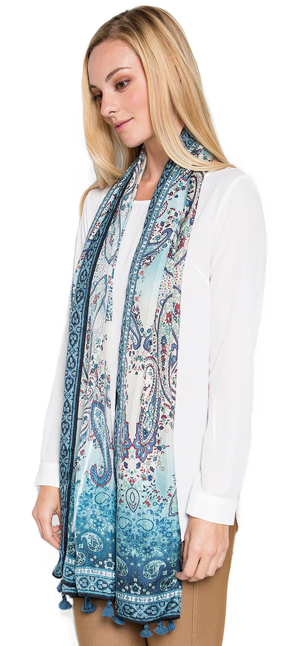 Fine Silk Scarf for Women-Luxury Fashion Print Extra Long Lightweight Wrap Shawl Headscarf by d'IRIS (Image #6)