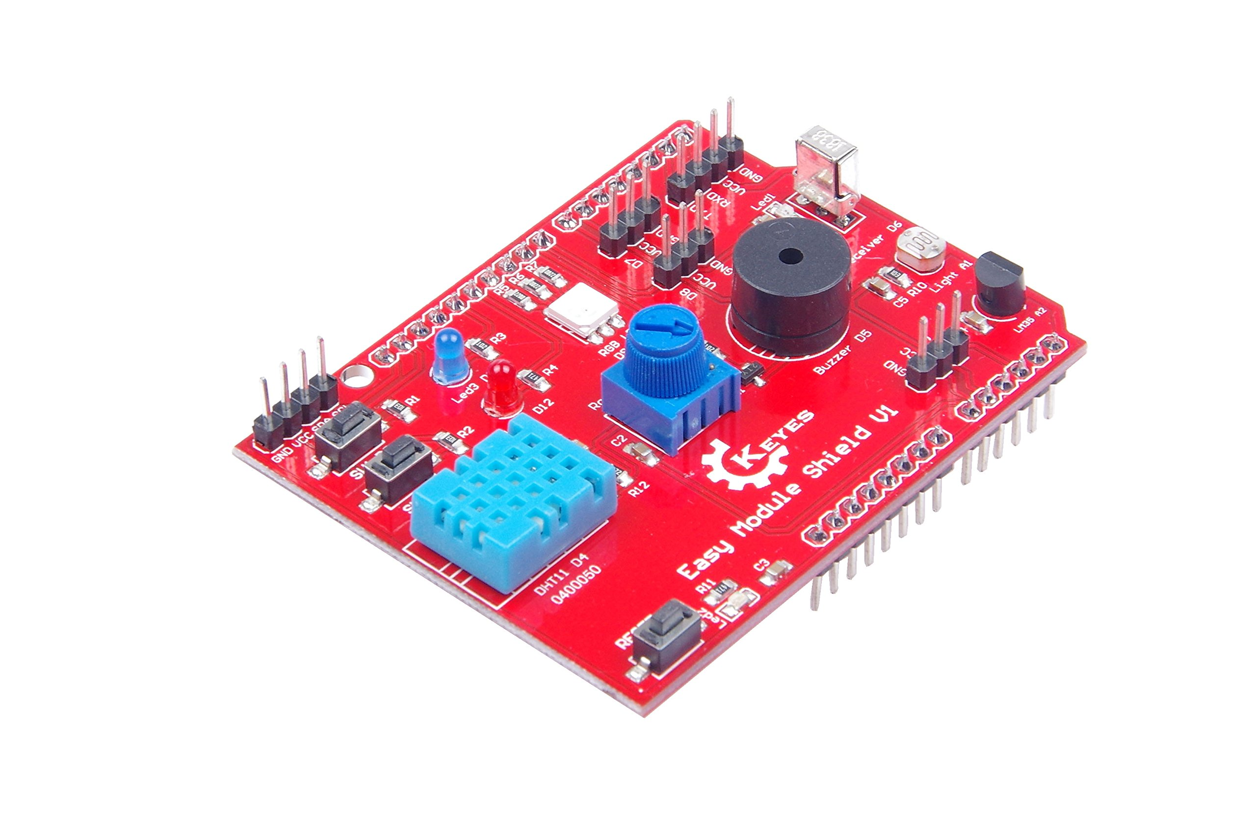 KNACRO Multipurpose Shield V1 Compatible with UNO R3, MEGA2560 R3 For Arduino With 2-way LED lights, 2-way key switch, DHT11 Temperature and Humidity Sensor Module