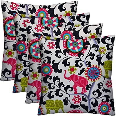 """RSH Décor Designer Indoor/Outdoor - 4 Pack Coordinating Pillow Sets (17"""" x 17"""", Pink, Green, Gray Turquoise Bohemian Elephant): Home & Kitchen"""