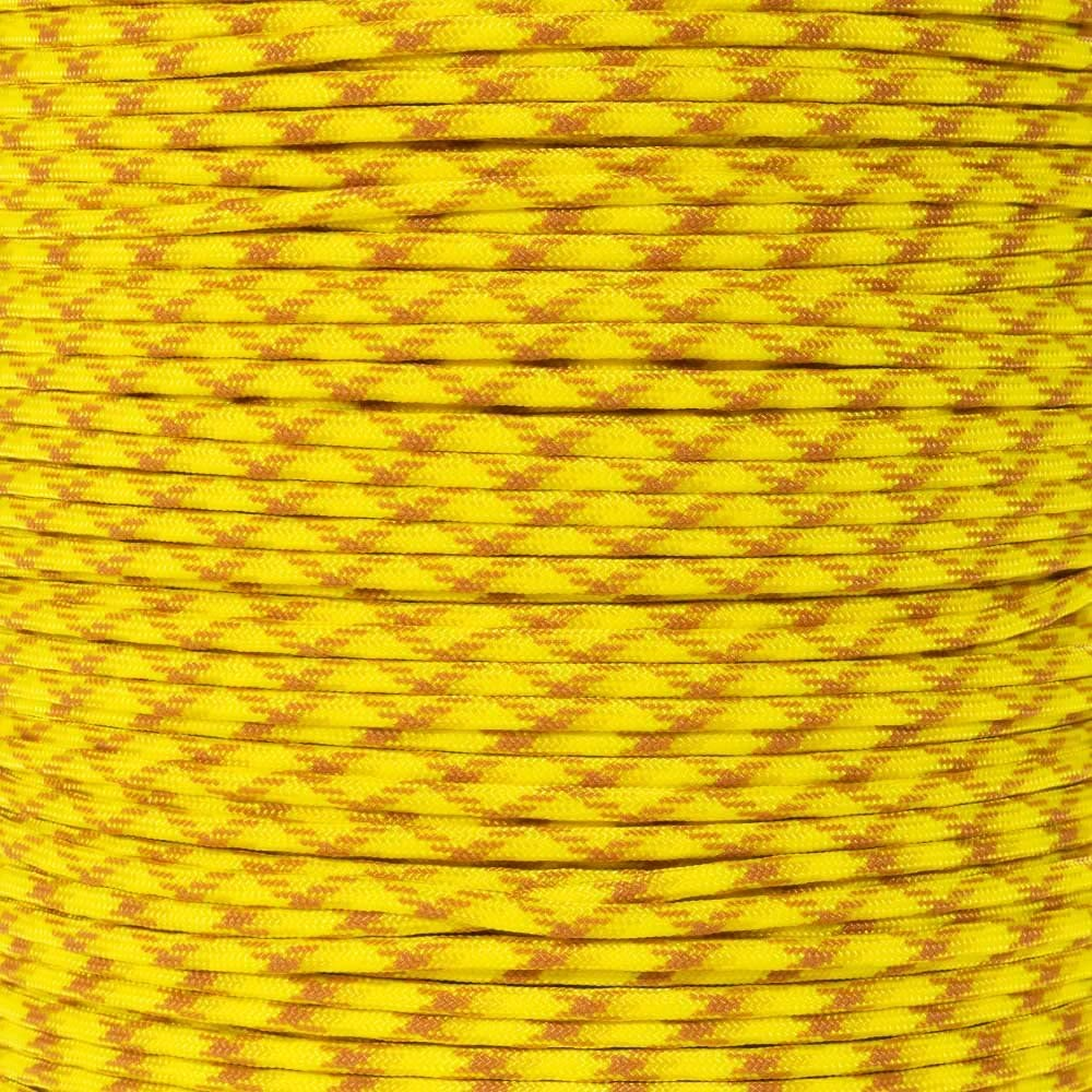 PARACORD PLANET 10 20 25 50 100 Foot Hanks and 250 1000 Foot Spools of Parachute 550 Cord Type III 7 Strand Paracord (Yellow Blend 50 Feet)