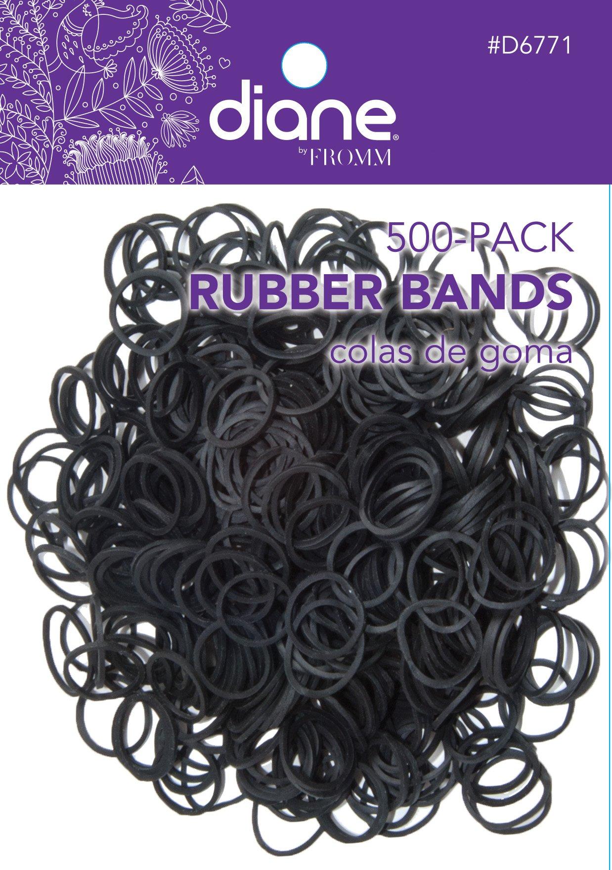Diane Rubber Bands Black 500-Pack, 500-CT RUBBER BANDS BLACK, Soft elastic bands will not break hair
