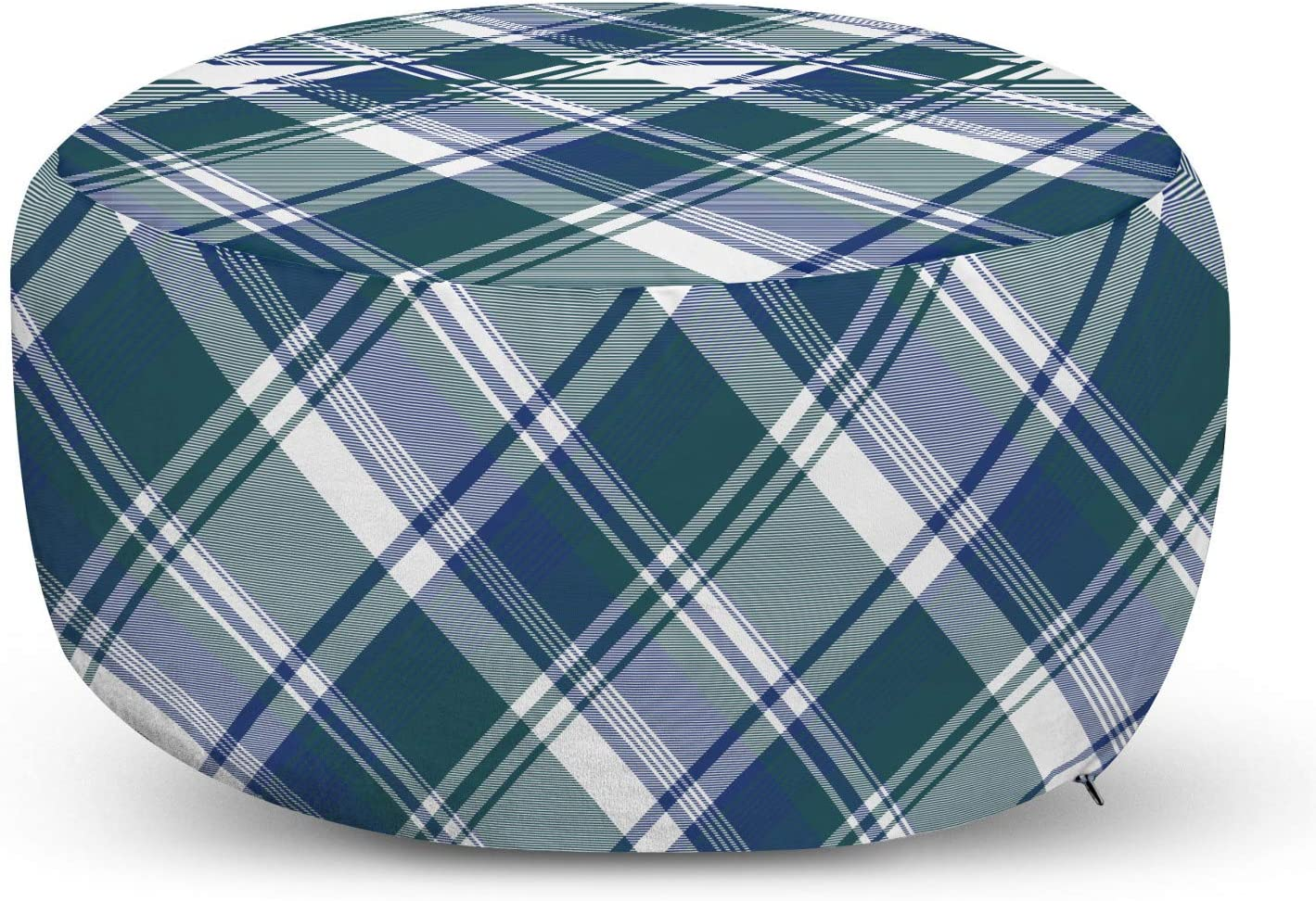 Amazon Com Lunarable Navy Plaid Ottoman Pouf Overlapped Diagonal Lines Checkered Fashion Illustration Decorative Soft Foot Rest With Removable Cover Living Room And Bedroom Dark Teal Dark Lavender Kitchen Dining