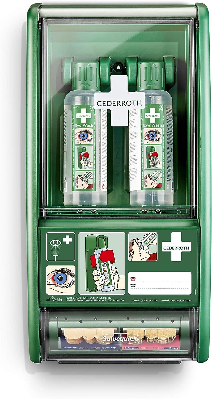 Cederroth ® | Estación de primeros auxilios lavaojos | Estación con soporte de pared robusto y práctico con 2 x botellas de Lavaojos Cederroth 500 ml y dispensador de apósitos