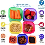 LITTLEPIG 7 Piece Portion Control Container Kit with Guide for 21 Day Fix Weight Loss Diet Meal Preparation Leak Proof Multi-Color Coded Food Measuring Set