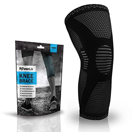 6d58c72fa1 POWERLIX Compression Knee Sleeve - Best Knee Brace for Men & Women - Knee  Support for. Roll over image to ...